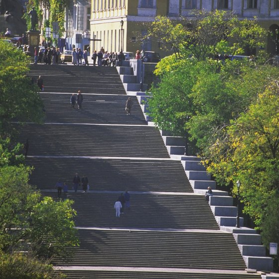 The Potemkin Stairs cover over 140 meters and are an Odessa landmark.
