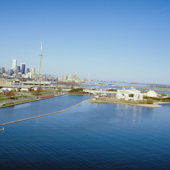 The Toronto skyline is visible from beaches on Lake Ontario.