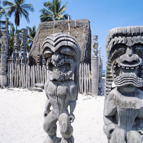 "The ""ki,"" or tikis, guard the royal beach at Pu'uhonua o Honaunau, the best-preserved place of refuge in Hawaii."