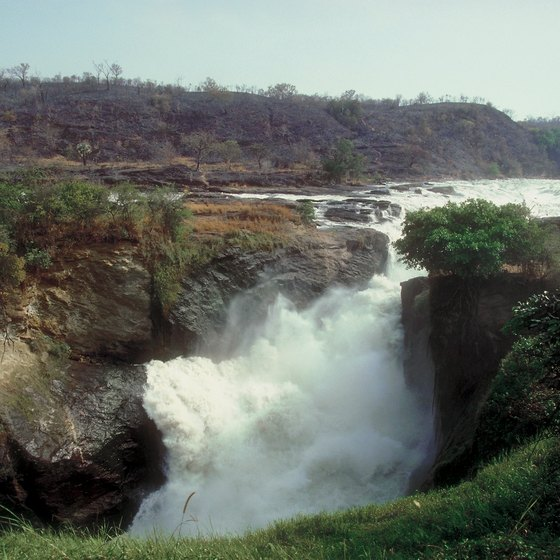 The Nile River flows over Murchison Falls in Uganda.