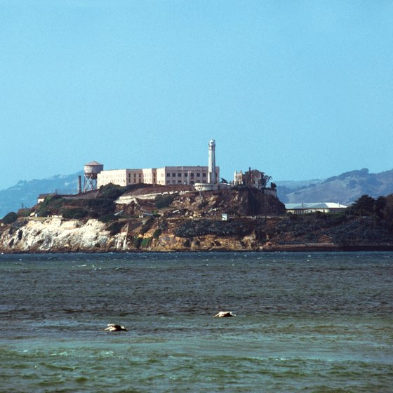 Ferry boats transport tourists to Alcatraz Island, in the San Francisco Bay.