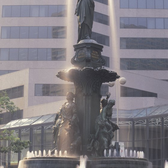 Fountain Square lies near the heart of downtown Cincinnati.