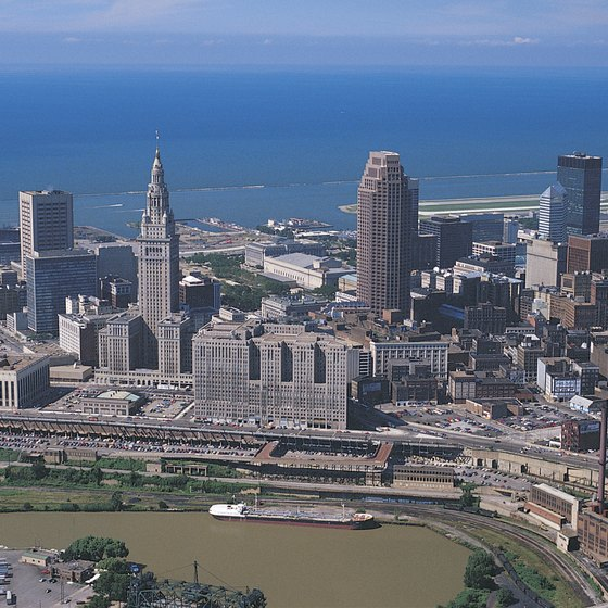 Cleveland, Ohio, looks over Lake Erie.