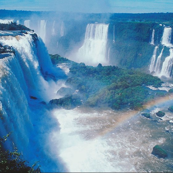 Iguacu Falls cascades across the border between Brazil and Argentina.