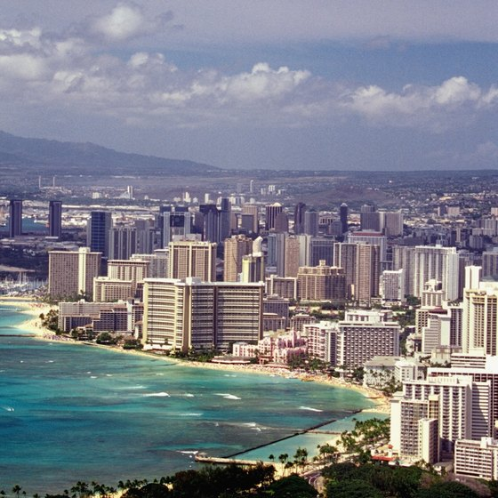 Waikiki Beach and the city of Honolulu from atop Diamond Head Crater.