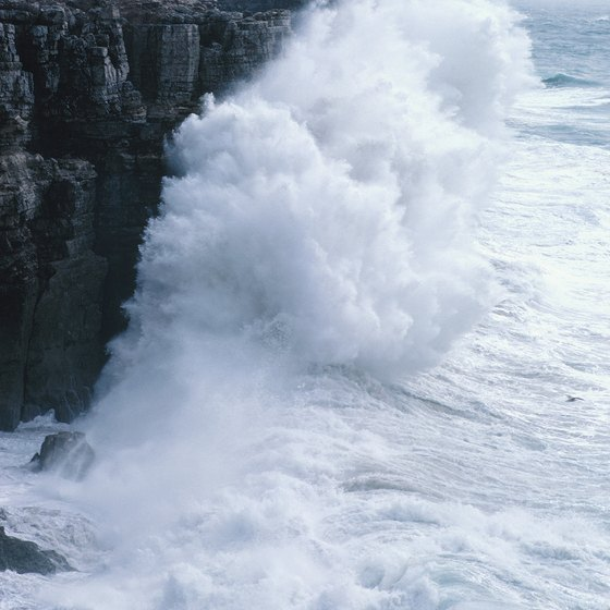 Huge waves slam against Portugal's rocky Atlantic Coast.