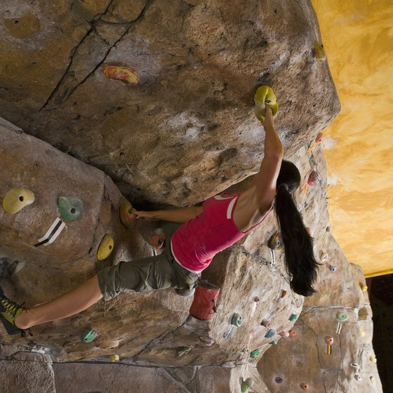 Indoor rock climbing simulates the real thing.