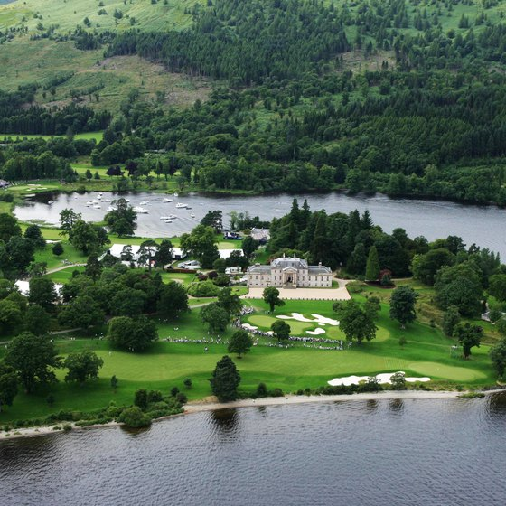 Aerial view of Rossdhu House and the Loch Lomond Golf Club
