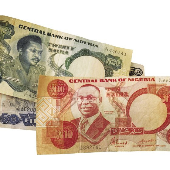 Each naira bill denomination is a different color.