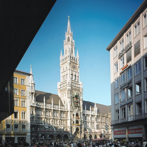 Munich's New Town Hall and its Glockenspiel are popular tourist attractions.