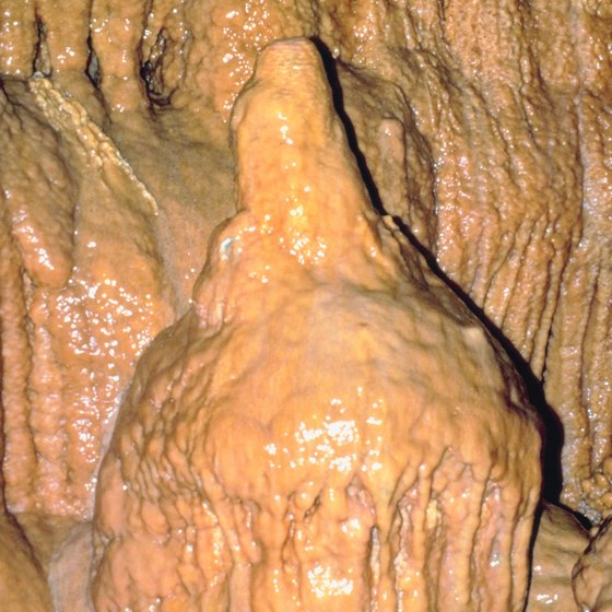 A mushroom stalagmite is just one unusual formation in Kartchner Caverns.
