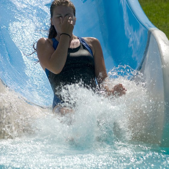 Have fun on the water slides at a waterpark hotel.