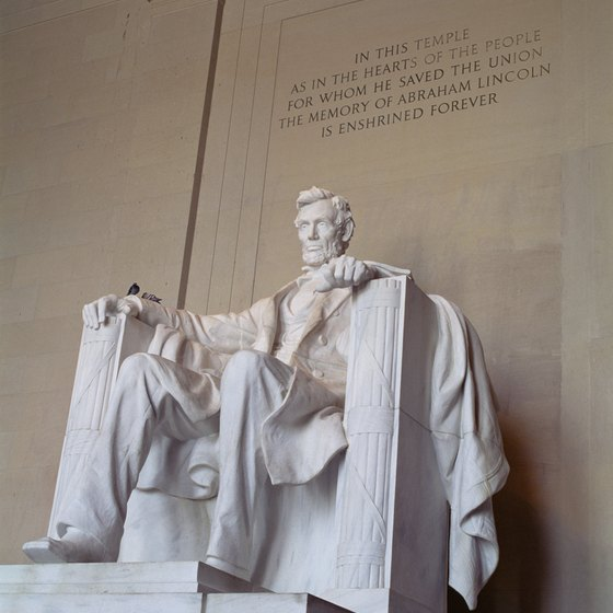 The Lincoln Memorial lies on the Tidal Basin.