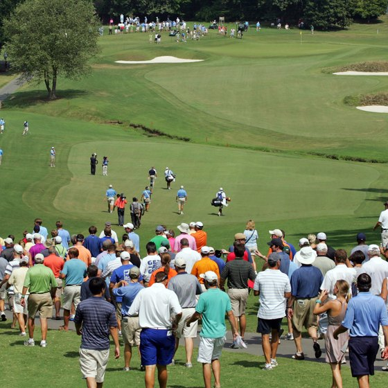 Fans follow the action at the Wyndham Championship in Greensboro.