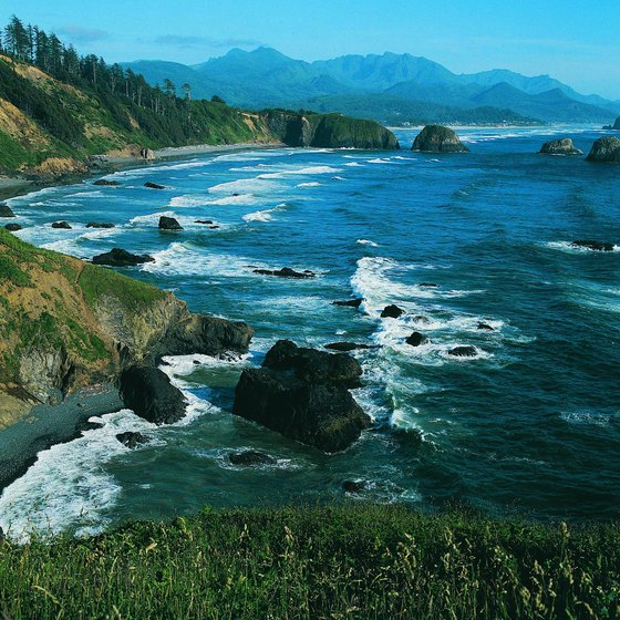 Ecola State Park's beaches are a short drive from Seaside, Oregon.