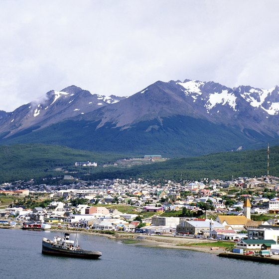 Ushuaia harbor welcomes cruise ships from September through April.