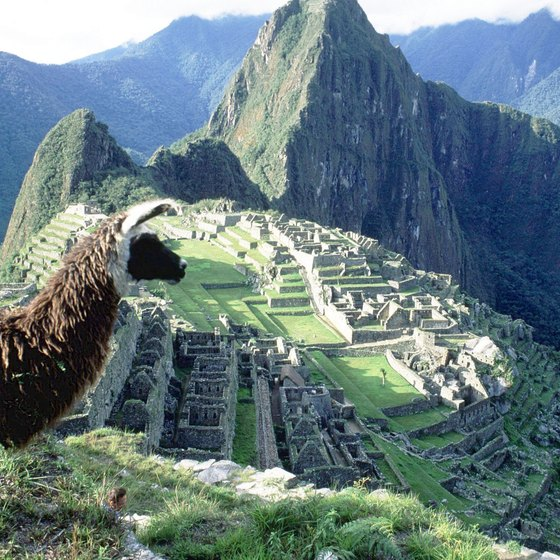 Machu Picchu was built on a granite ridge between two mountain peaks.