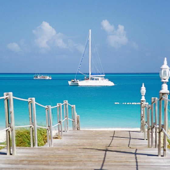 Turquoise waters and shining white shores are a common sight at Grace Bay beach.