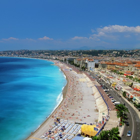 The beaches at Nice live up to the Mediterranean town's name.
