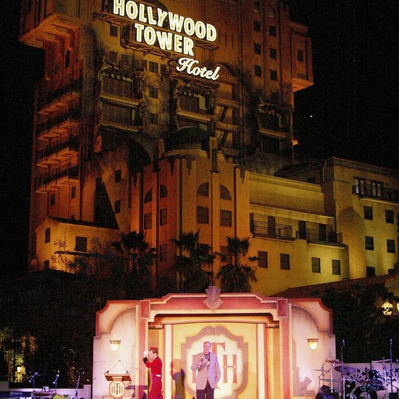 The Hollywood Tower Hotel is the backdrop for a Disney thrill ride.