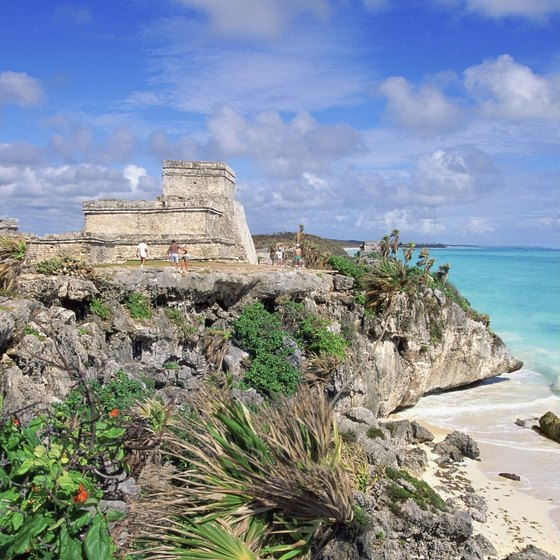 Tulum's Mayan ruins overlook the aquamarine Caribbean.
