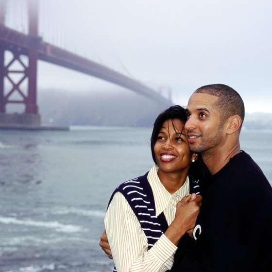 The Golden Gate Bridge inspires romance even on a foggy day.