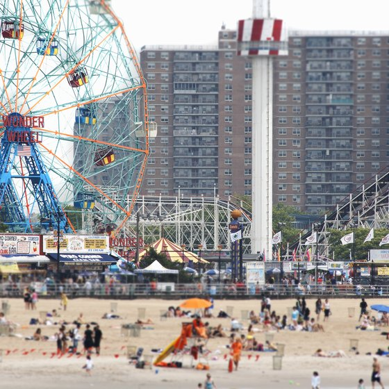 The Coney Island beach and boardwalk are famous landmarks.