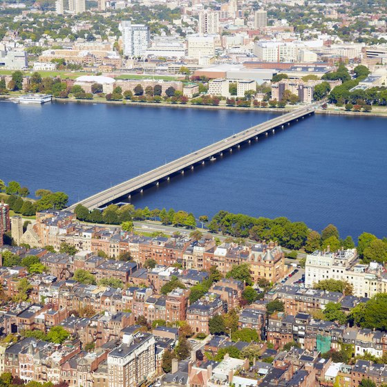 The Charles River divides Cambridge from Boston.