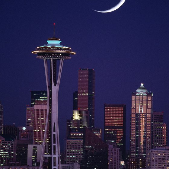 The Space Needle dominates the Seattle skyline.