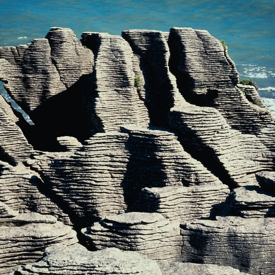 The Pancake Rocks at Punakaiki provide scenic photo opportunities.