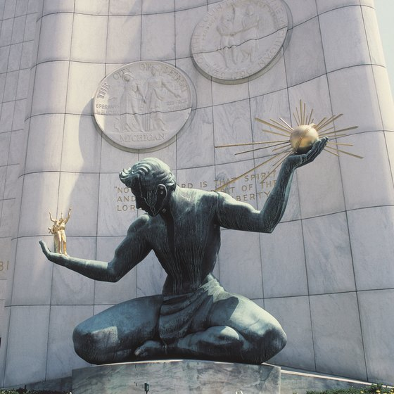 This Spirit of Detroit personification is often seen on logos in Detroit.