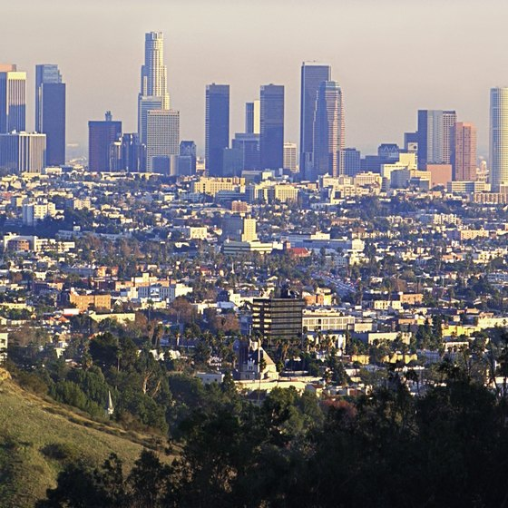 Downtown Los Angeles is not far from campgrounds in natural environments.