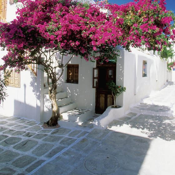 Blazing whites and bright blues dominate the color scheme of Greece, as here on Mykonos.