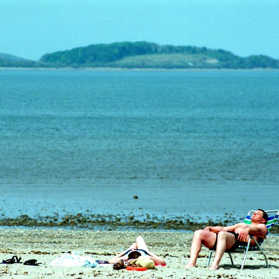 Beachgoers enjoy a warm day on Wollaston Beach.