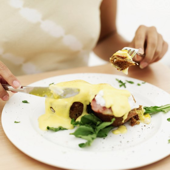 Brunches in Long Beach, California restaurants feature eggs Benedict.