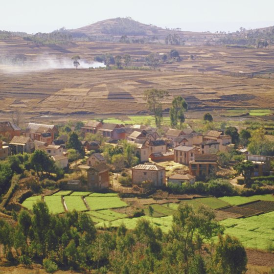 Villages nestle in Madagascar's central valleys.