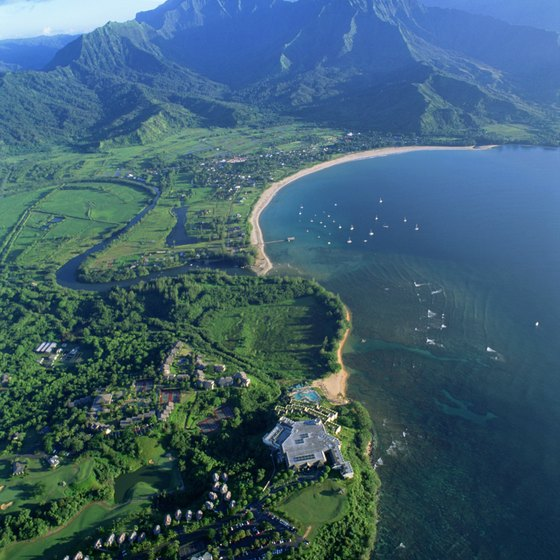 Hanalei Bay and Princeville from the air.
