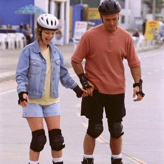 Enjoy the views of the ocean while rollerblading along a Californian beach.