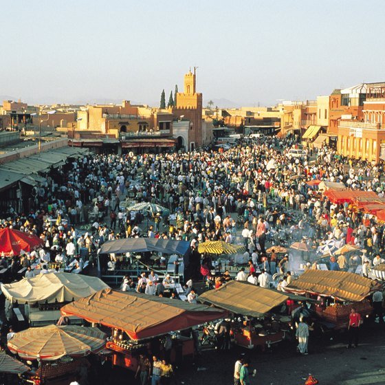 Crowded marketplaces characterize cities and villages throughout Morocco.