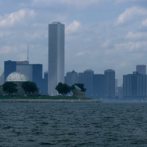 Take in the skyline from a boat on Lake Michigan.