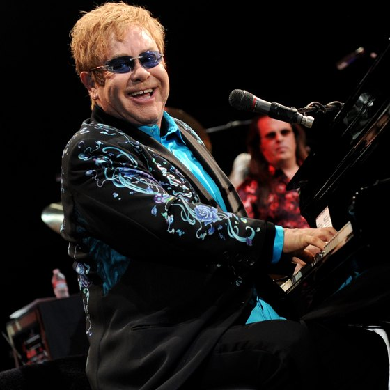 Elton John and Leon Russell performing at Citizens Business Bank Arena.