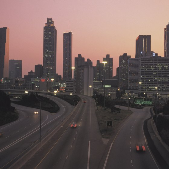 A view of the Atlanta Skyline at dusk.