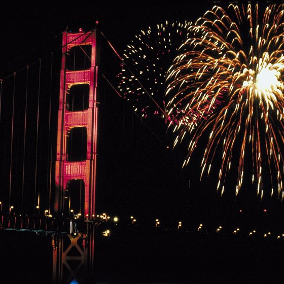 Fireworks explode over the Golden Gate Bridge in San Francisco on the Fourth of July.