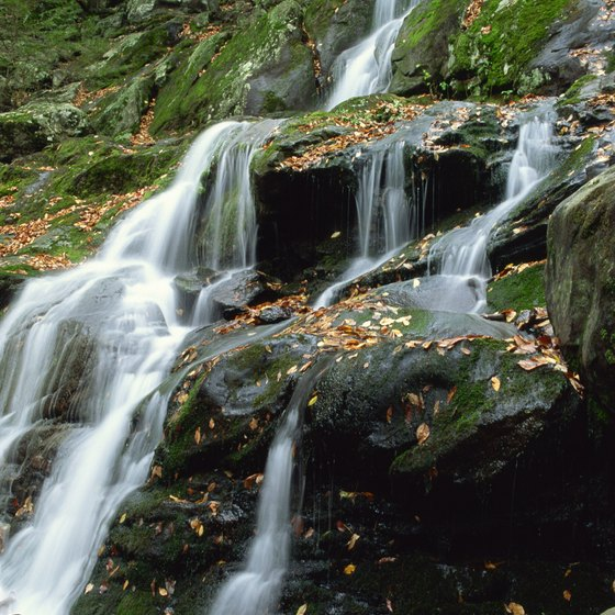 Dark Hollow Falls tumbles down a mountain in Shenandoah National Park.