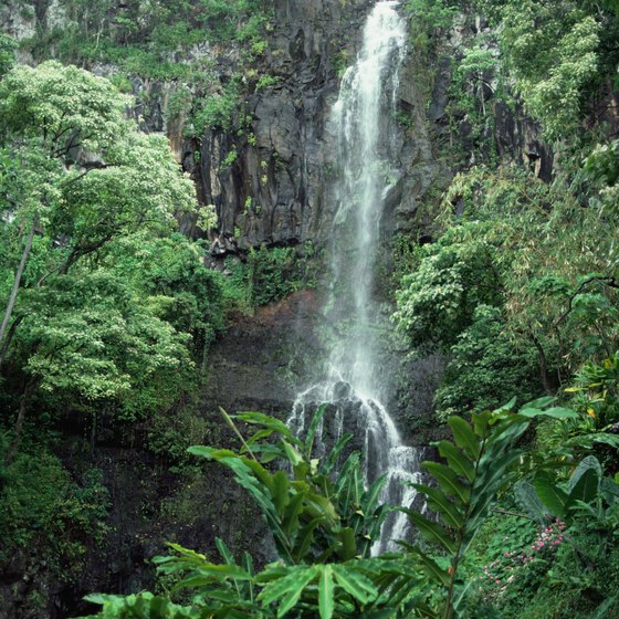 Visit waterfalls during a romantic honeymoon on Maui, Hawaii.