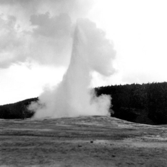On clear days, you can see Old Faithful from four-wheel trails around Yellowstone.