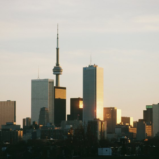 The CN Tower dominates Toronto's skyline.