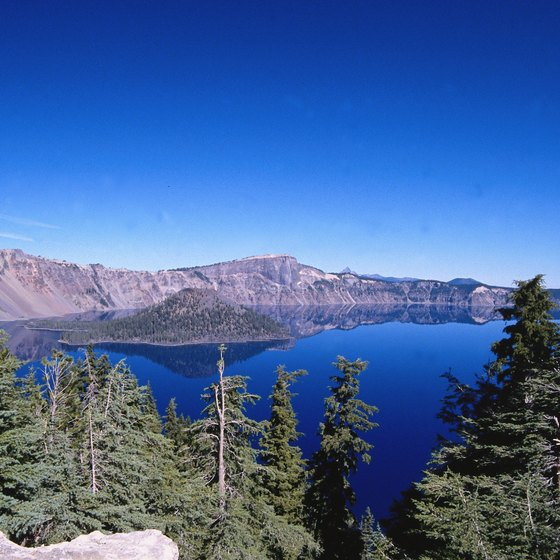 Scenic Crater Lake is near Sunriver, Oregon.