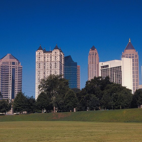 Rollerblading is available near the skyscrapers of Atlanta in Midtown's Piedmont Park