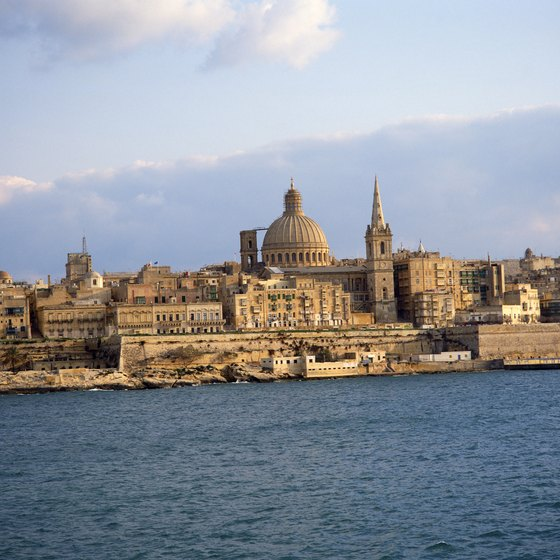 Valletta's skyline is clearly visible as visitors approach from the sea.